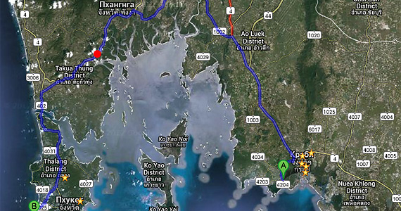 Карта самостоятельной поездки из Краби на Пхукет на мотоцикле